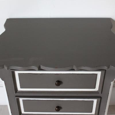 French Three Drawer Ornate Bedside Distressed Grey image 3