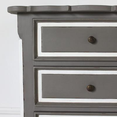 French Three Drawer Ornate Bedside Distressed Grey image 4