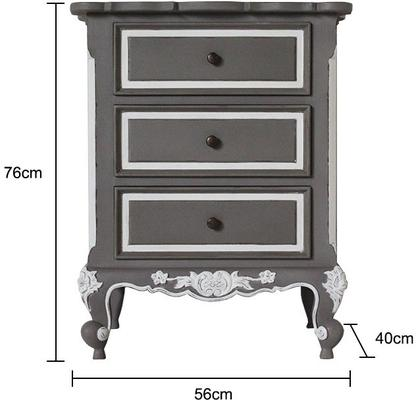 French Three Drawer Ornate Bedside Distressed Grey image 5