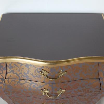 French Three Drawer Bombe Bedside Table Greyish Purple