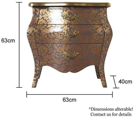French Three Drawer Bombe Bedside Table Greyish Purple image 5
