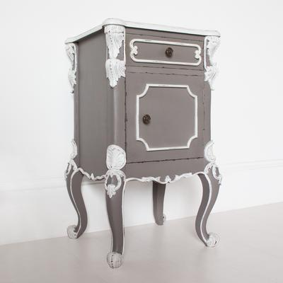 Ornate French Bedside Table Distressed Grey with White Carvings
