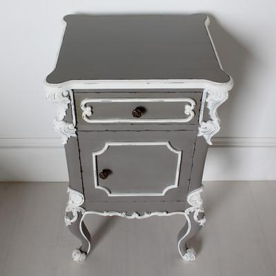 Ornate French Bedside Table Distressed Grey with White Carvings image 3