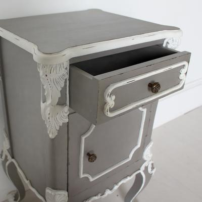Ornate French Bedside Table Distressed Grey with White Carvings image 4