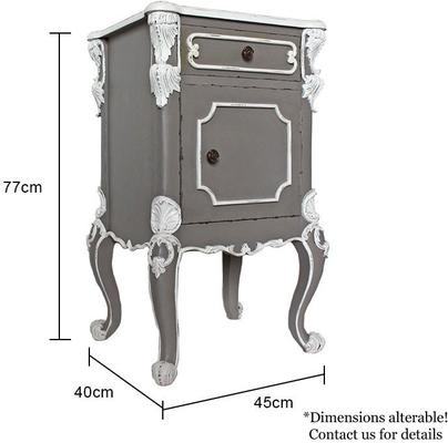 Ornate French Bedside Table Distressed Grey with White Carvings image 5