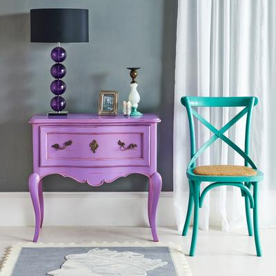 Wide French Bedside Table in Purple image 2