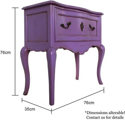 Wide French Bedside Table in Purple image 5