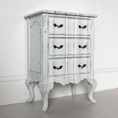 Ripple French-Style Bedside Table with Three Drawers image 2