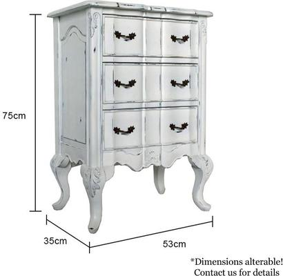 Ripple French-Style Bedside Table with Three Drawers image 5