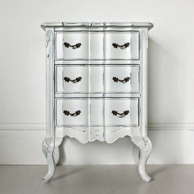 Ripple French-Style Bedside Table with Three Drawers