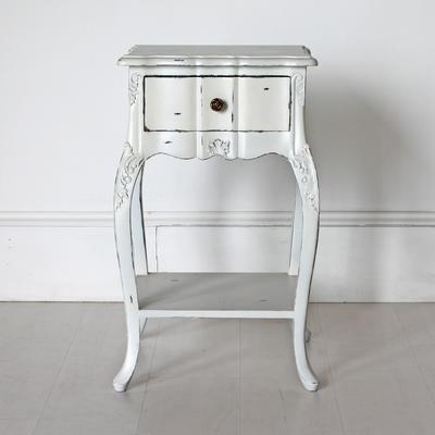 Ripple French Bedside Table One Drawer Antique White