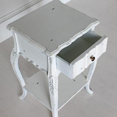 Ripple French Bedside Table One Drawer Antique White image 2
