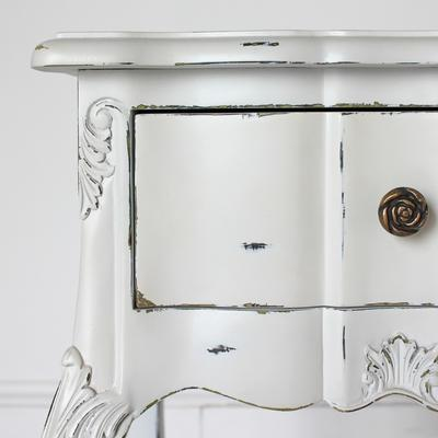 Ripple French Bedside Table One Drawer Antique White image 4
