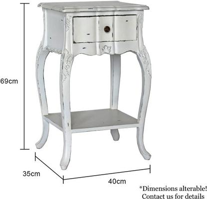 Ripple French Bedside Table One Drawer Antique White image 5