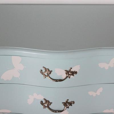 French Three Drawer Bombe Bedside Table Turquoise Butterfly Design image 2