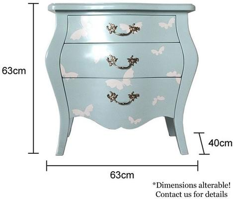 French Three Drawer Bombe Bedside Table Turquoise Butterfly Design image 4