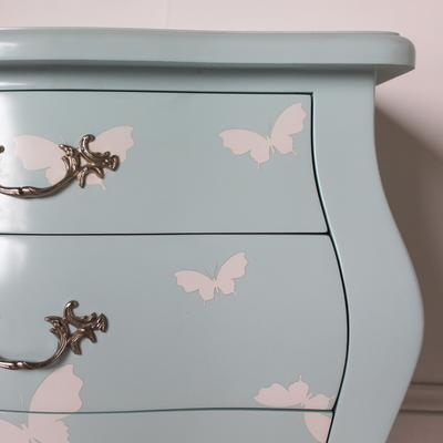 French Three Drawer Bombe Bedside Table Turquoise Butterfly Design image 5