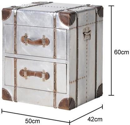 Two Drawer Metal Bedside with Straps image 2