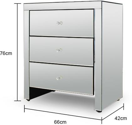 Wide Mirrored Glass Bedside Table image 2