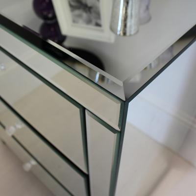 Wide Mirrored Glass Bedside Table image 4