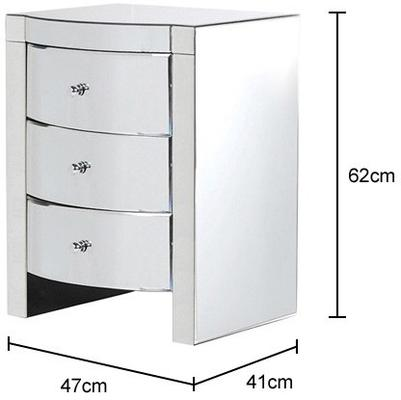 Curvy Mirrored Three Drawer Bedside image 2