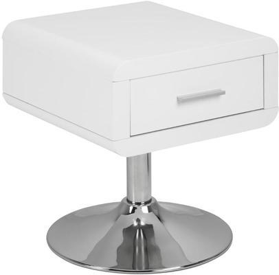Comfor Modern Bedside Table 1 Drawer White Gloss image 2