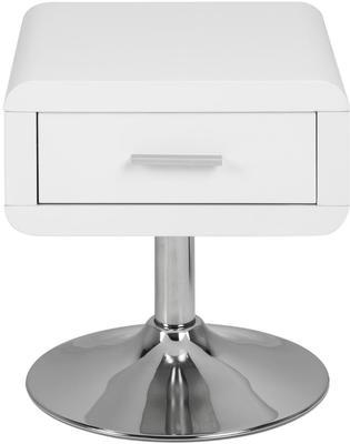 Comfor Modern Bedside Table 1 Drawer White Gloss image 3