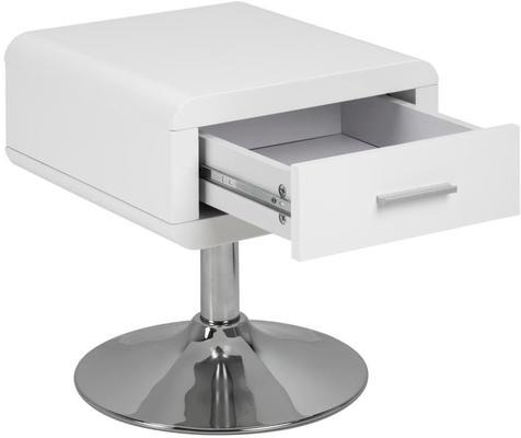Comfor Modern Bedside Table 1 Drawer White Gloss image 4