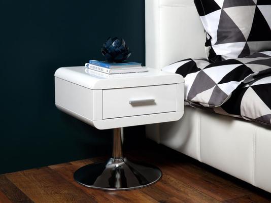 Comfor Modern Bedside Table 1 Drawer White Gloss image 5