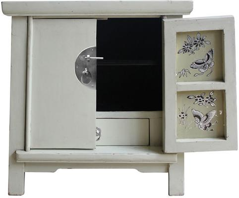 Bedside Ivory Cabinet with Butterfly Interior
