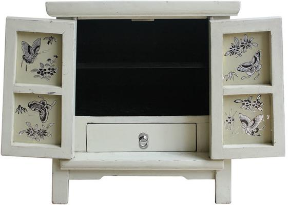 Bedside Ivory Cabinet with Butterfly Interior image 3
