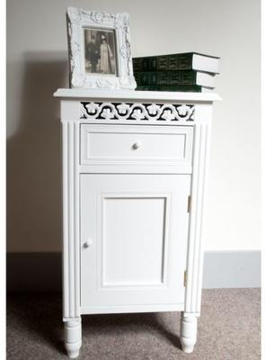 Traditional Bedside Cabinet White Painted