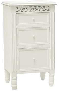 Traditional 3 Drawer Bedside Cabinet White Paint Shabby Chic Design