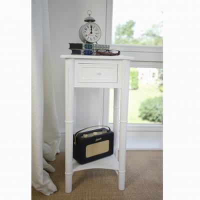 Traditional Bedside Table with drawer - White Paint Finish