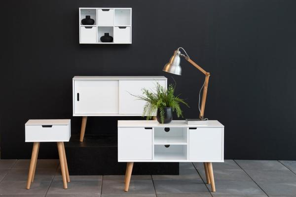 Mitra Bedside Table White Lacquer and Oak image 4