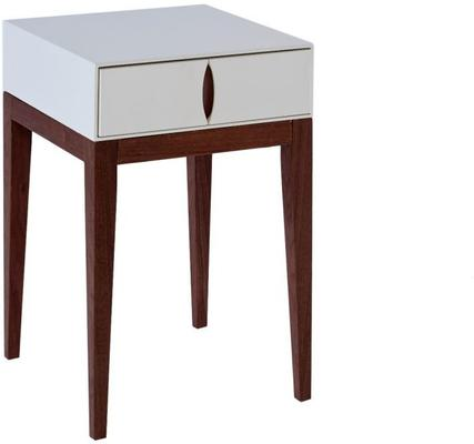 Lux Art Deco Side Table Matt Shaded White Lacquer and Walnut