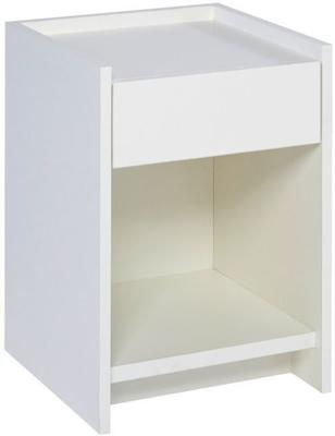 Essentials Bedside Table One Drawer - Matt White Lacquer