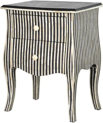 Bone Inlay Striped Two Drawer Bedside Table Black and White