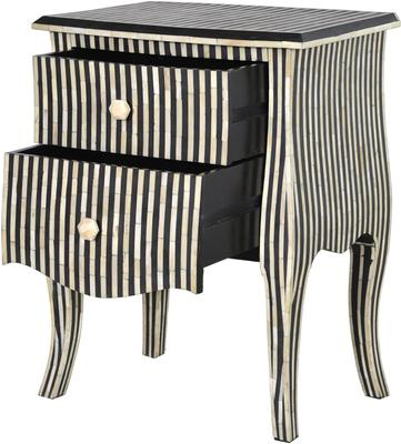 Bone Inlay Striped Two Drawer Bedside Table Black and White image 2