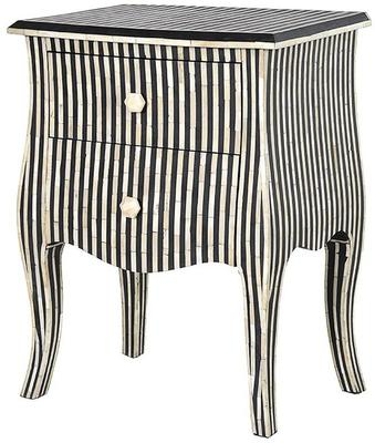 Bone Inlay Striped Two Drawer Bedside Table Black and White image 3