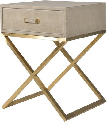 Faux Ostrich Leather Bedside Table Contemporary Stainless Steel Frame