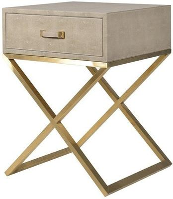 Faux Ostrich Leather Bedside Table Contemporary Stainless Steel Frame image 2