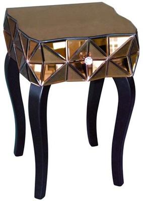 Triangles Bronze Mirrored Bedside Table Glass Top image 2