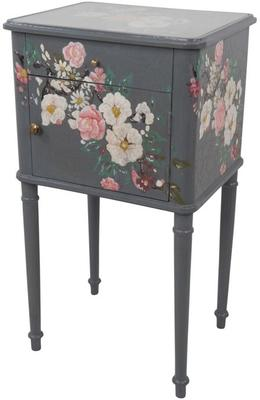 Floral Bedside Table One Drawer One Door in Grey or Pink
