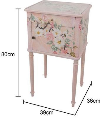 Floral Bedside Table One Drawer One Door in Grey or Pink image 2