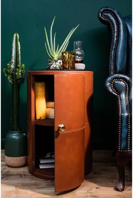 Round Tan Leather Bedside Table Ethnic