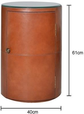 Round Tan Leather Bedside Table Ethnic image 2