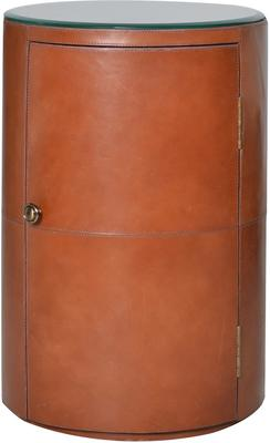 Round Tan Leather Bedside Table Ethnic image 3