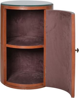 Round Tan Leather Bedside Table Ethnic image 4