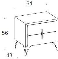 Dune 2 drawer bedside table image 2
